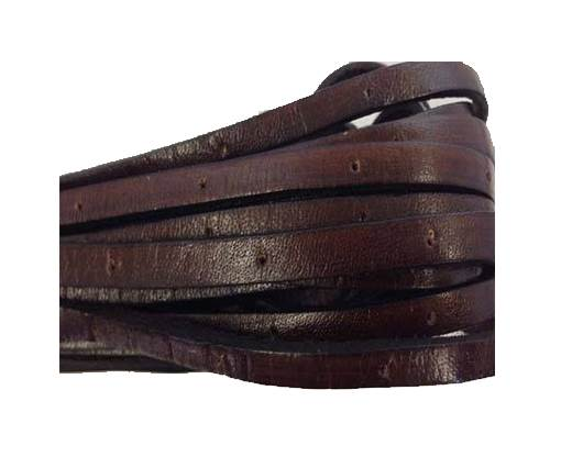 Flat Leather Italian 5mm - hole panched style-dark brown