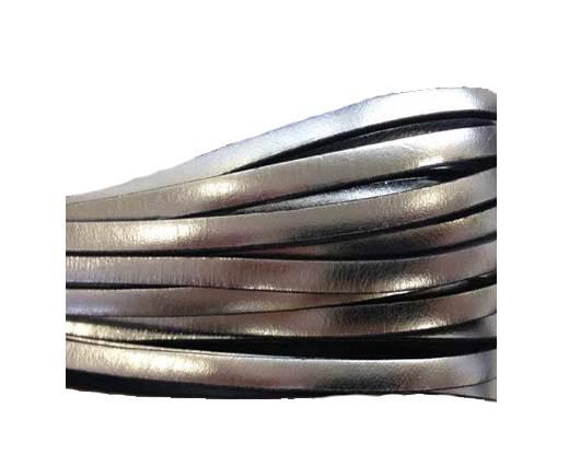 Flat Leather 5mm - italian style-metallic silver