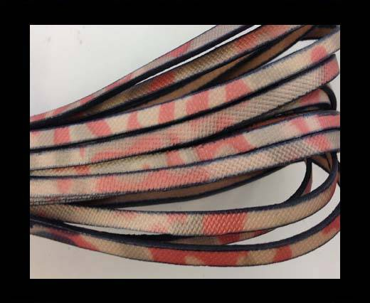 Flat Leather Italian 5mm - pink and white