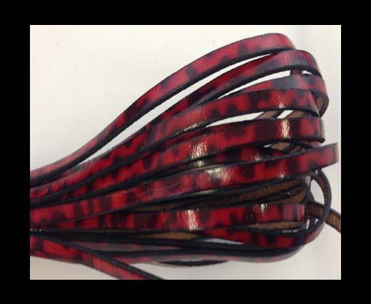 Flat Leather Italian 5mm - red with black