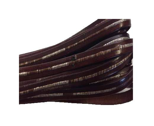 Flat Leather Italian 5mm - Silver with Maroon