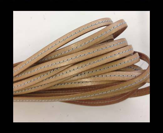 Flat Leather Italian 5mm - stitches-natural