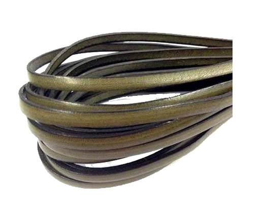 Flat Leather 5mm - Silver with italian style-Verde