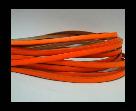 Flat leather Italian - 5 mm -neon orange