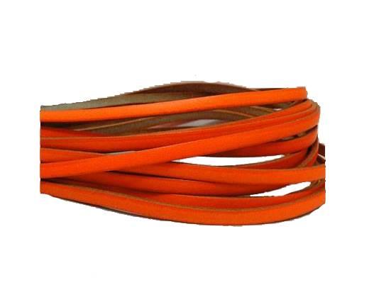 Flat leather Italian - 5 mm -neon orange