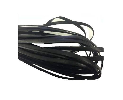 Flat leather Italian  - 4 mm - black