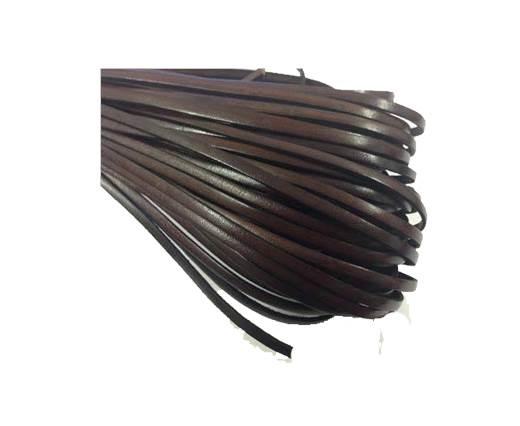 Flat leather Italian  - 4 mm - coffee brown