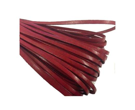 Flat leather Italian   - 4 mm - red
