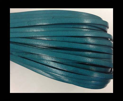 Flat leather Italian   - 4 mm - turquoise