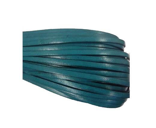 Flat leather Italian   - 4 mm - turquoise