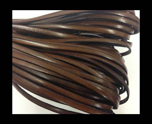 Flat leather Italian  - 4 mm - dark brown