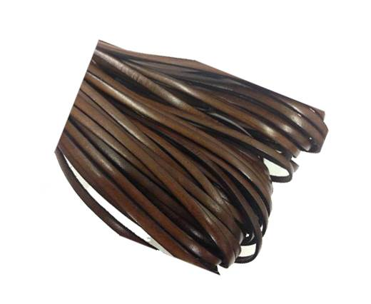 Flat leather Italian  - 4 mm - dark brown