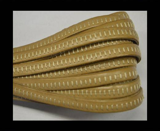 Italian Flat Leather- Horz Stitched - Beige