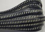 Italian Flat Leather- Horz Stitched - Dark Blue