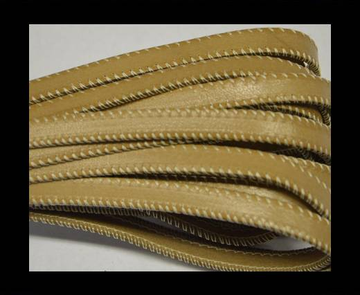 Italian Flat Leather- Side Stitched - Beige