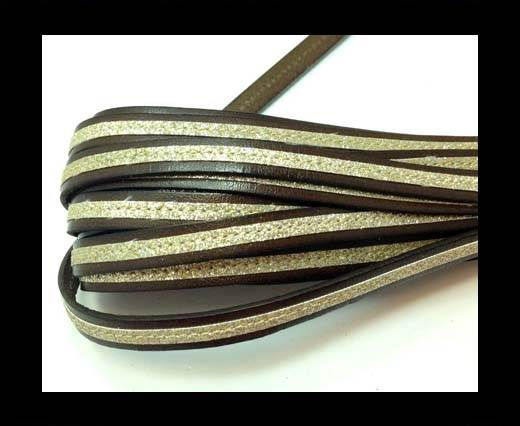 Buy Flat Leather- With Glitter -10mm- Brown Glitter Gold at wholesale prices