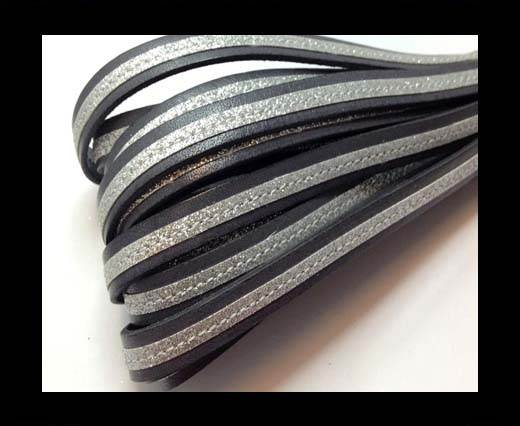Buy Flat Leather- With Glitter -10mm- Grey Glitter Silver at wholesale prices