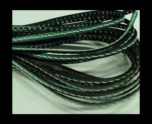 Flat Leather Italian Cord With Thick Stitch-5mm-Turqiuose