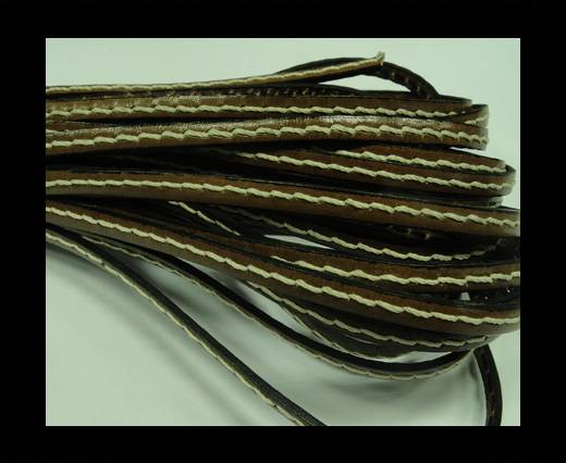 Flat Leather Italian Cord With Thick Stitch-5mm-Brown