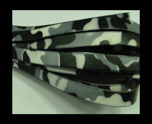 Flat Leather Cord-Camouflage Grey