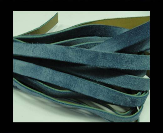 Flat Leather Cord Suede -10mm-Sky Blue