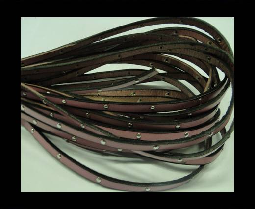 Buy Flat Leather Cord With Steel Studs-5mm-Pink at wholesale prices