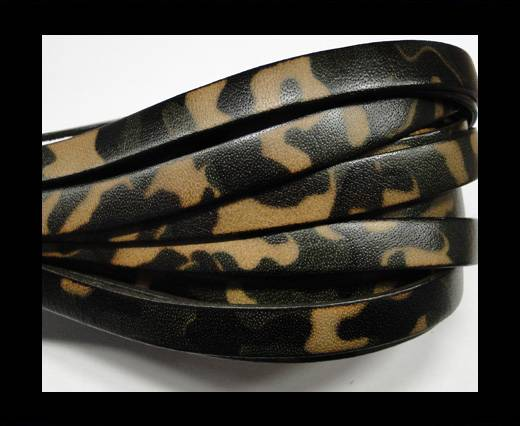 Buy Flat Leather Cord-10mm-Camouflage Green at wholesale prices