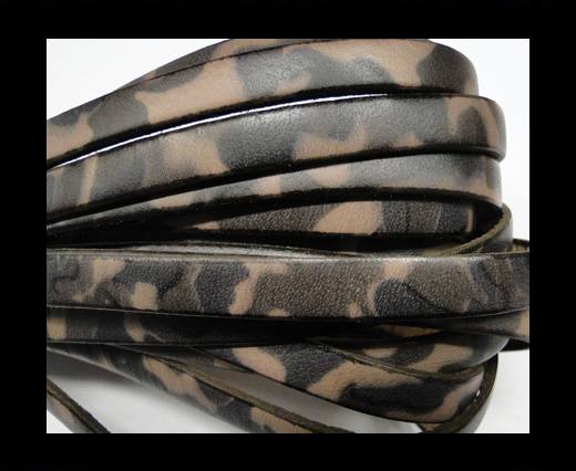 Flat Leather Cord-10mm-Camouflage Light brwon