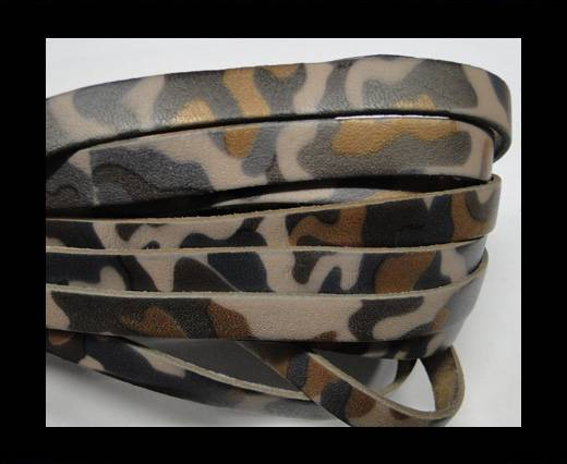 Flat Leather Cord-10mm-Camouflage Light grey