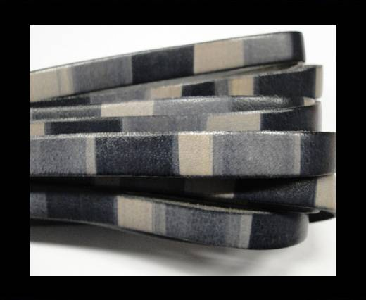 Buy Flat Leather Cord-10mm-Stripes grey at wholesale prices