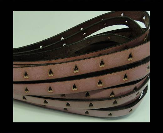 Flat Leather Cords With Hearts Holes-Pink
