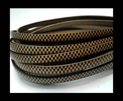 Flat Leather Cords - Chess Style - 5mm-Tortora