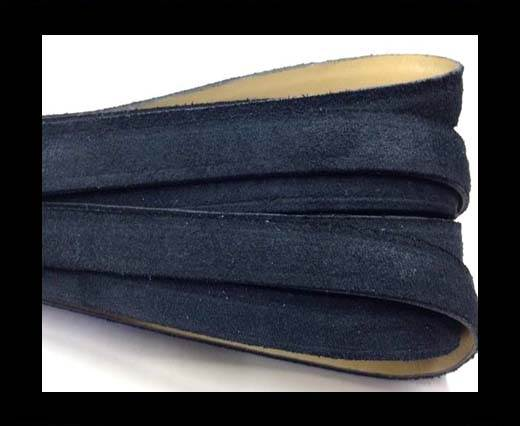 Flat Leather Cord Suede -10mm-Dark Blue