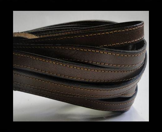 Italian Flat Leather-Double Stitched-10mm-BROWN