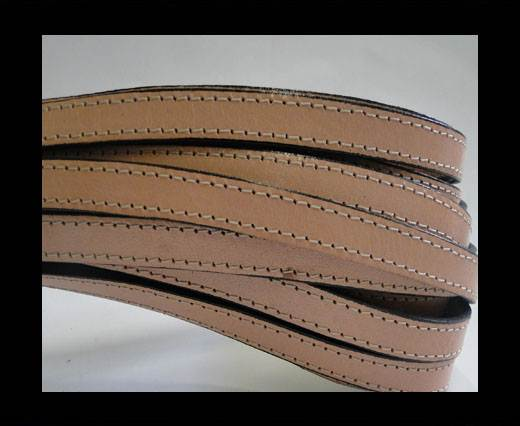 Italian Flat Leather-Double Stitched-10mm-CREAM