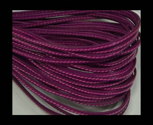 Flat leather Italian with stitch - 5 mm - fuchsia