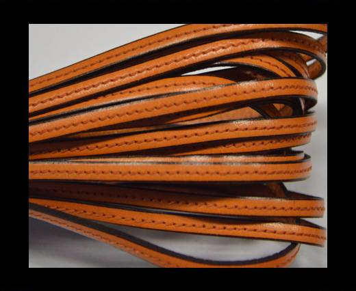 Flat leather Italian with stitch - 5 mm - Orange
