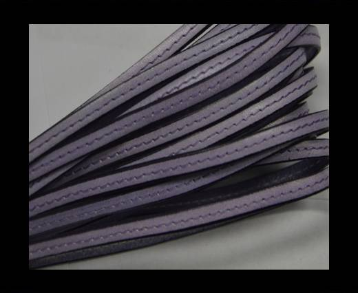 Flat leather Italian with stitch - 5 mm - Purple