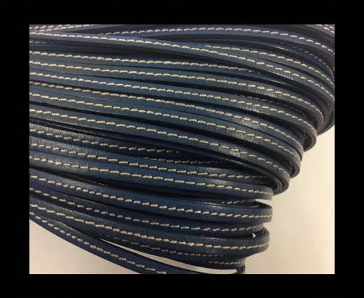 Flat leather Italian with stitch - 4 mm - blue