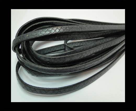 Flat Italian Nappa Leather Snake Style 5MM - Dark Grey