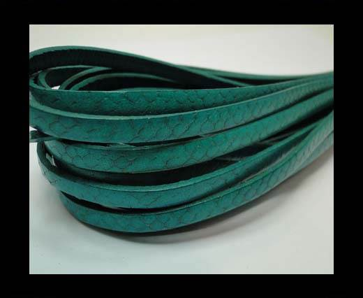Buy Flat Italian Nappa Leather Snake Style 5MM - tuquoise at wholesale prices