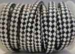 Flat Thick Braided Leather -10mm- Black and White