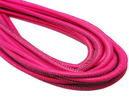 Round Stitched Nappa Leather Cord-4mm-florescent fuchsia