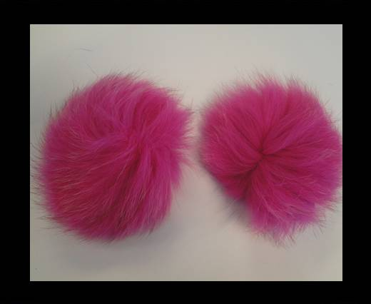 Buy Fox Fur Pom Pom-Fuchsia -10cms at wholesale prices
