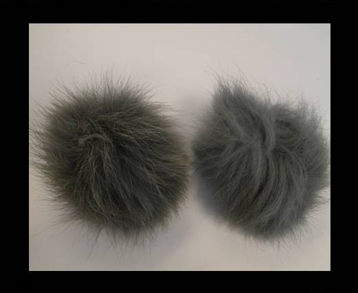 Fox Fur Pom Pom-Light Grey-10cms