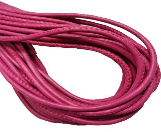 Round Stitched Leather Cord - 3mm - FUCHSIA PINK