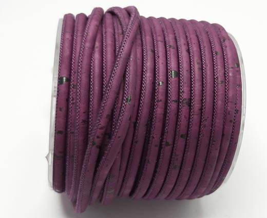 Real Cork Round - 3mm - Fuschia