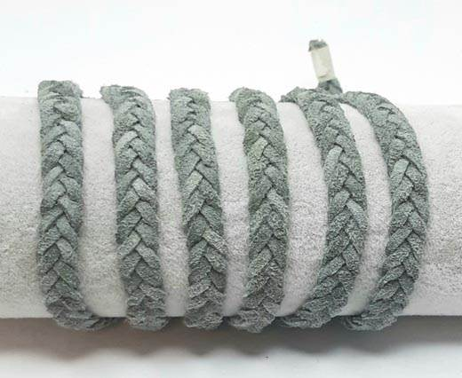 Thick Flat Suede Braided -10mm-Gray