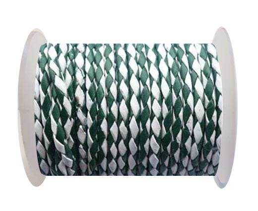 Round Braided Leather Cord SE/B/25-Green-White - 6mm