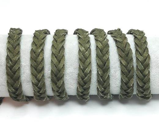 Thick Flat Suede Braided -10mm-Green